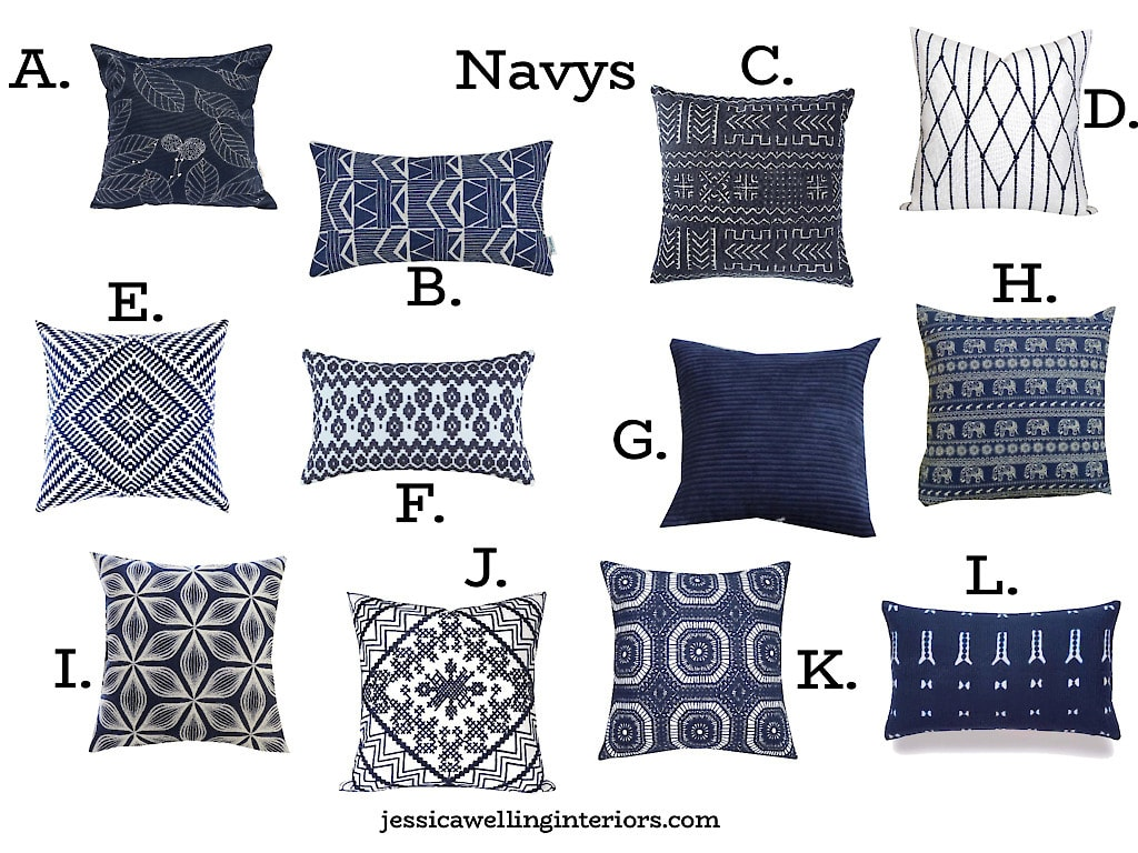 collage of cheap Navy throw pillow covers from Amazon
