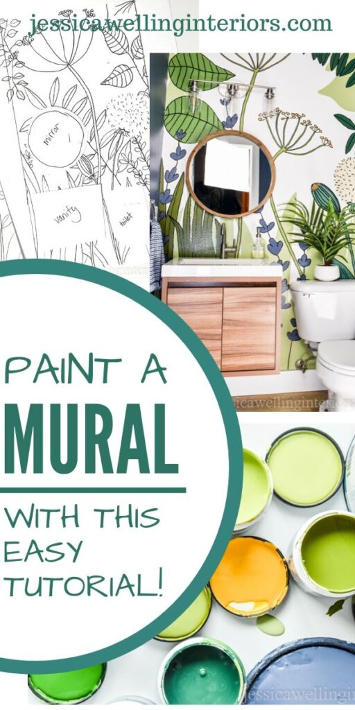 Paint a Mural With This Easy Tutorial: collage of white botanical line drawing, colorful paint samples, and finished botanical mural in a small bathroom