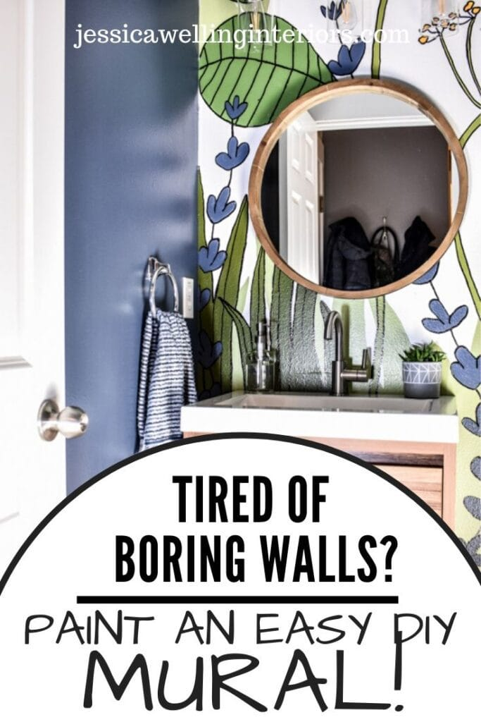Tired of Boring Walls? Paint an Easy DIY Mural! small powder room with a hand-painted botanical mural accent wall