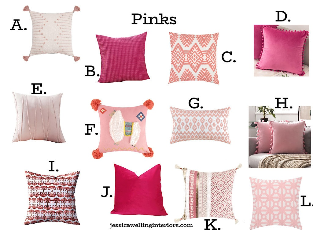 collage of pink throw pillow covers from Amazon, tassels, pom poms, and Bohemian patterns