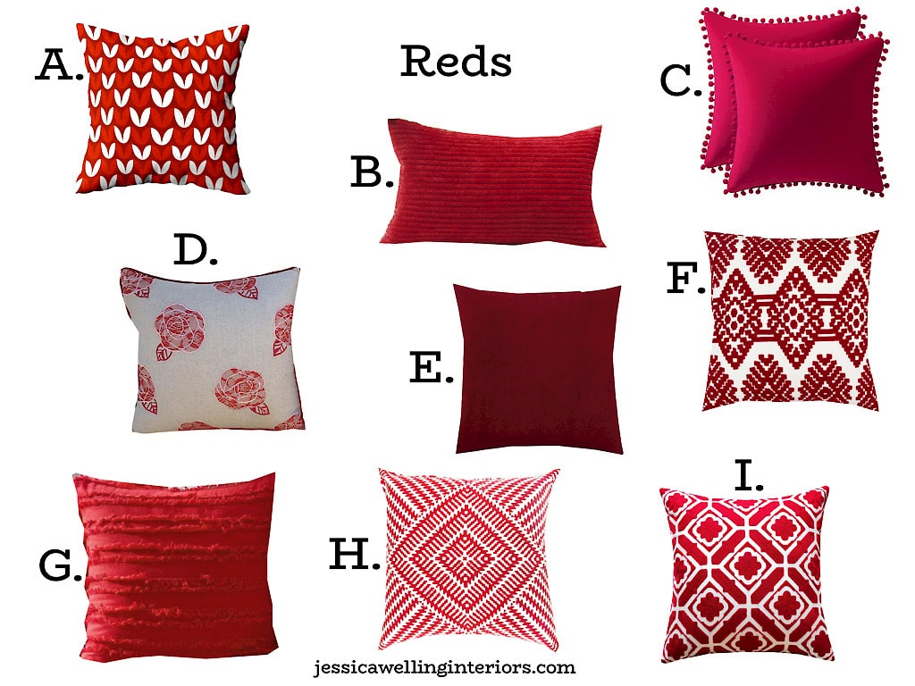 reds: collage of modern throw pillow covers from Amazon in red, perfect for Christmas decor