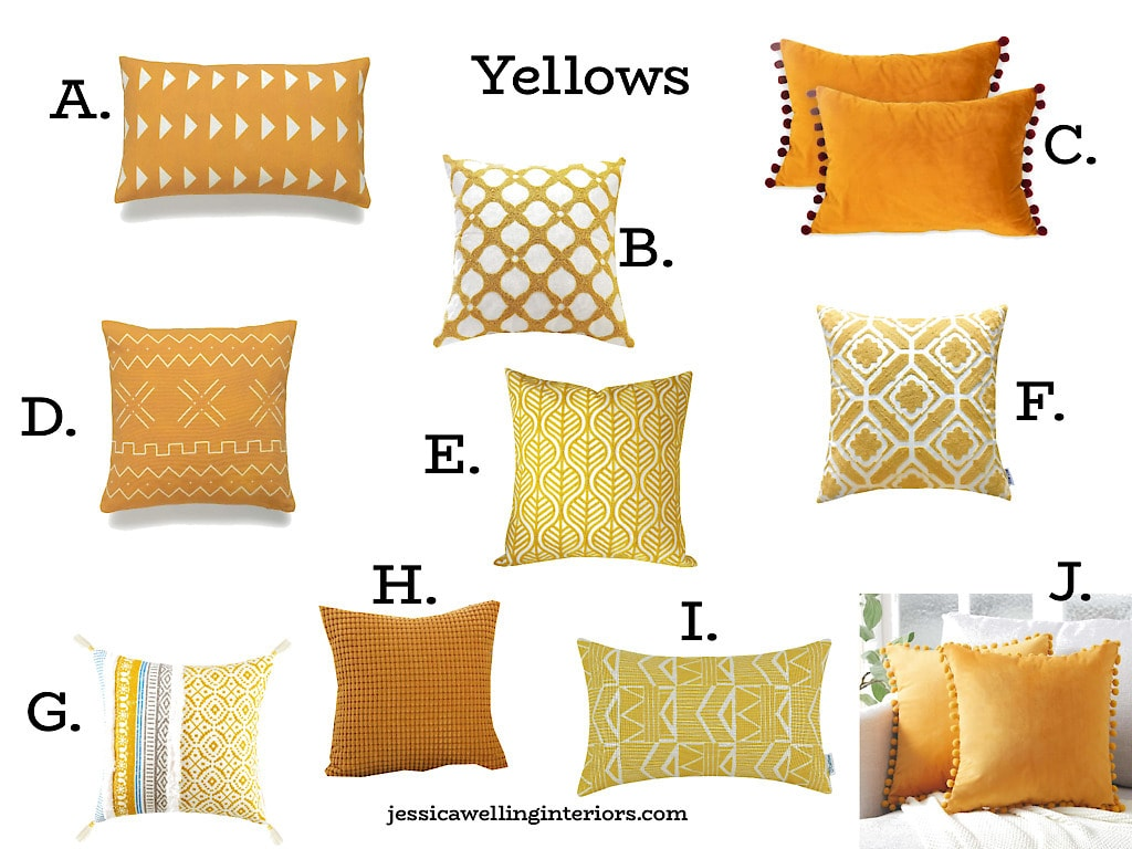Yellows: collage of modern throw pillow covers with pom poms, tassels, and Boho patterns