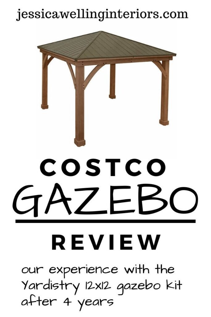 Costco Gazebo Review: Our experience with the Yardistry 12x12' gazebo kit after 4 years: cedar gazebo pavillion against a white background