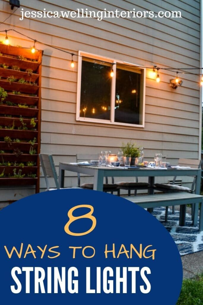 8 Ways to Hang String Lights: patio with outdoor dinging set and outdoor string lights