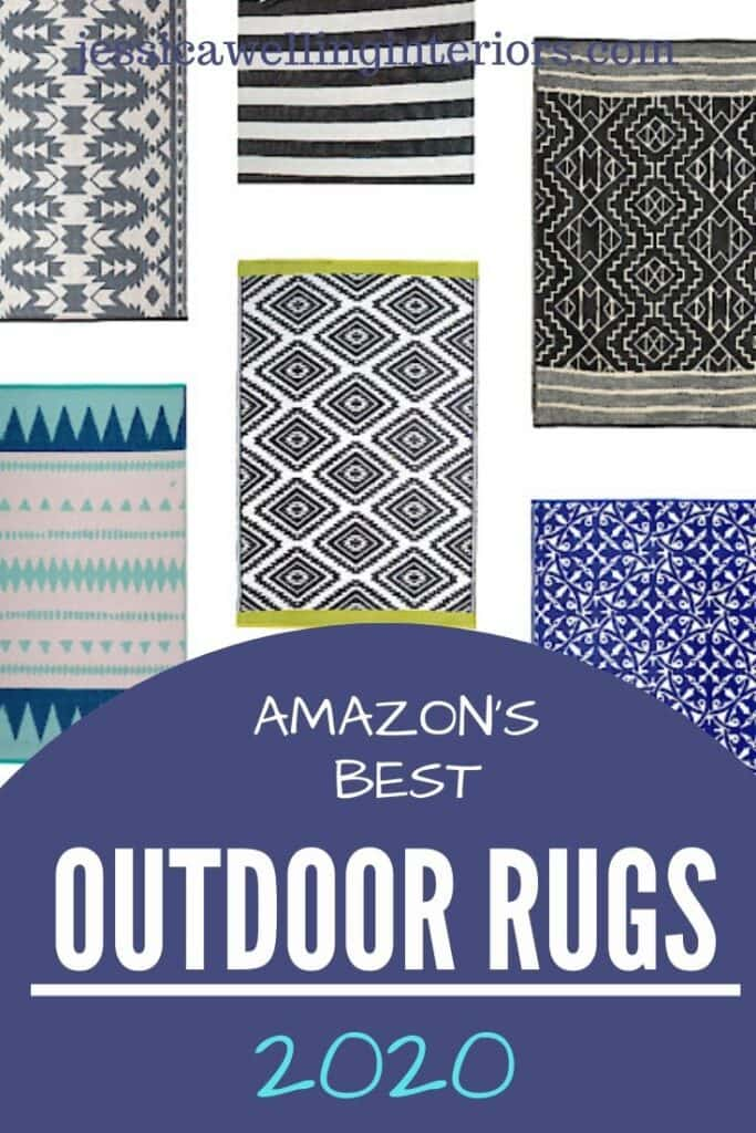 Amazon's Best Outdoor Rugs 2020: collage of tribal print, boho, colorful outdoor rugs for decks, patios, and porches