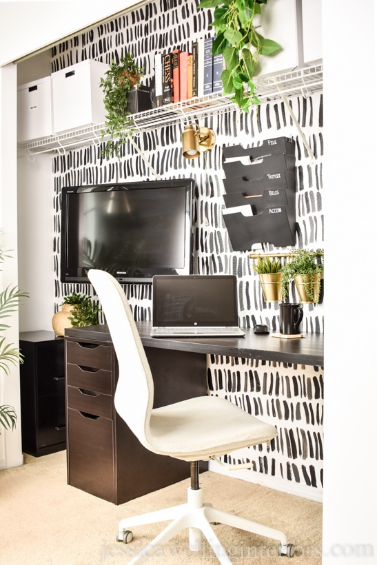 stylish masculine closet office with small home office desk from Ikea