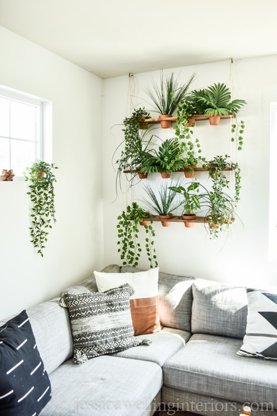 Boho DIY indoor vertical garden with indoor hanging plants in terra cotta pots