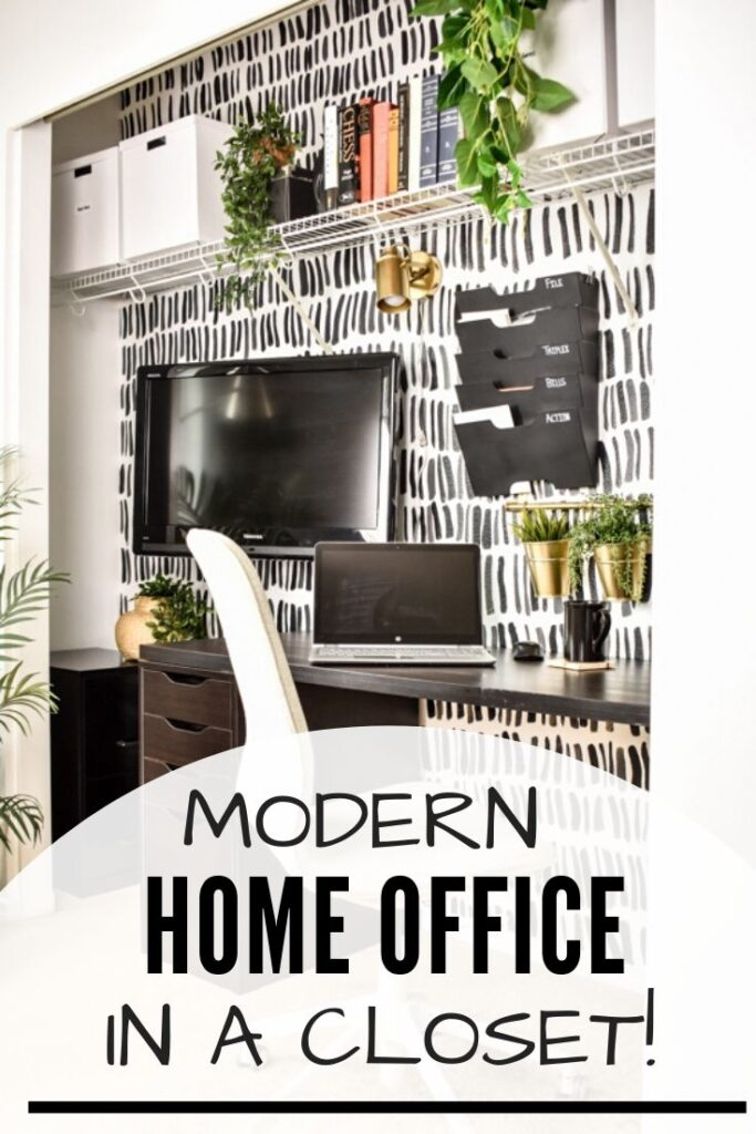 "Modern Home Office in a Closet!: modern ""cloffice"" with black and white accent wall, black Ikea desk, Alex drawer unitl, and gold accents, and plants"