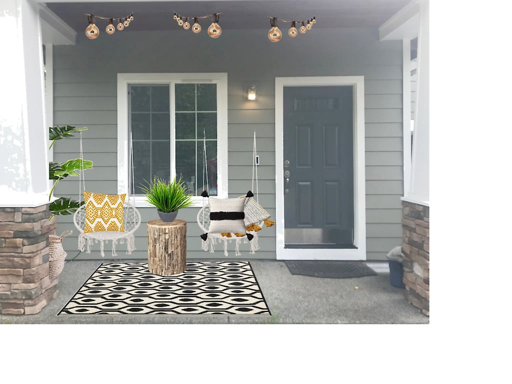 rendering of Boho front porch with macrame swing chairs