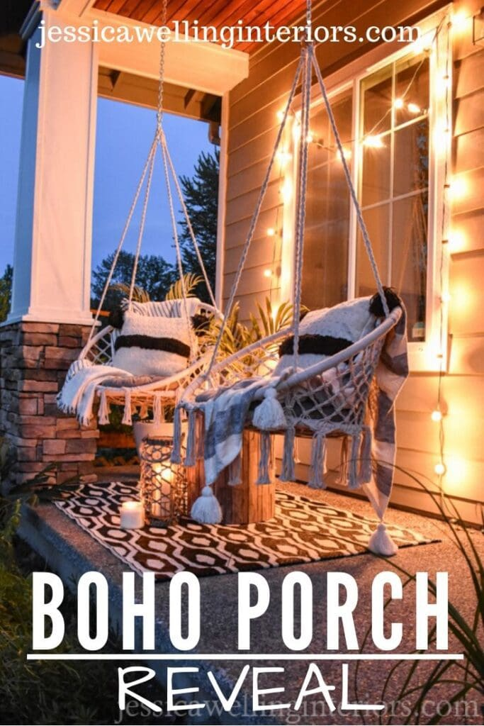 Boho Porch Reveal: modern porch with macrame swings and candlelight