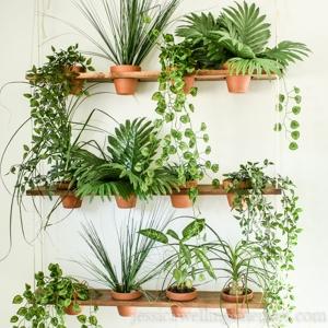 diy indoor vertical garden with artificial plants