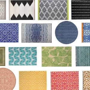 collage of modern colorful outdoor rugs