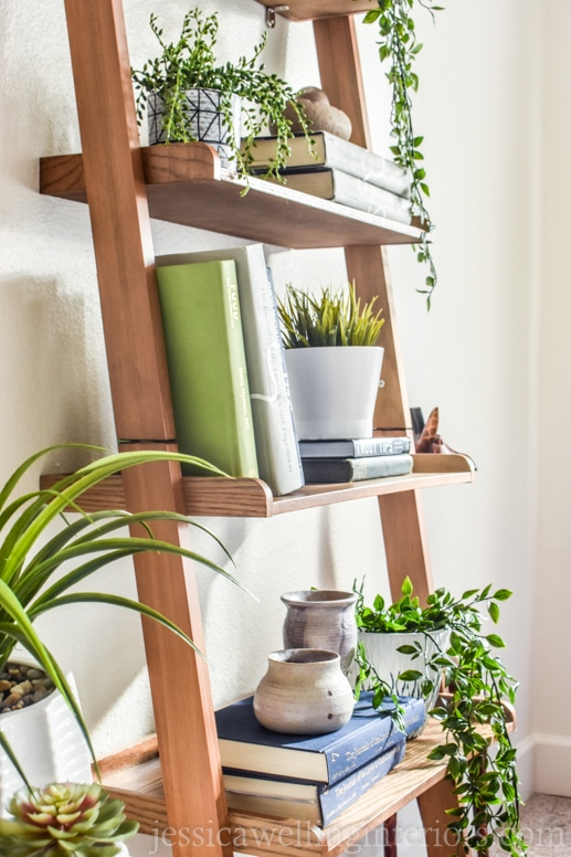ladder shelf decorated with books and artificial hanging plants