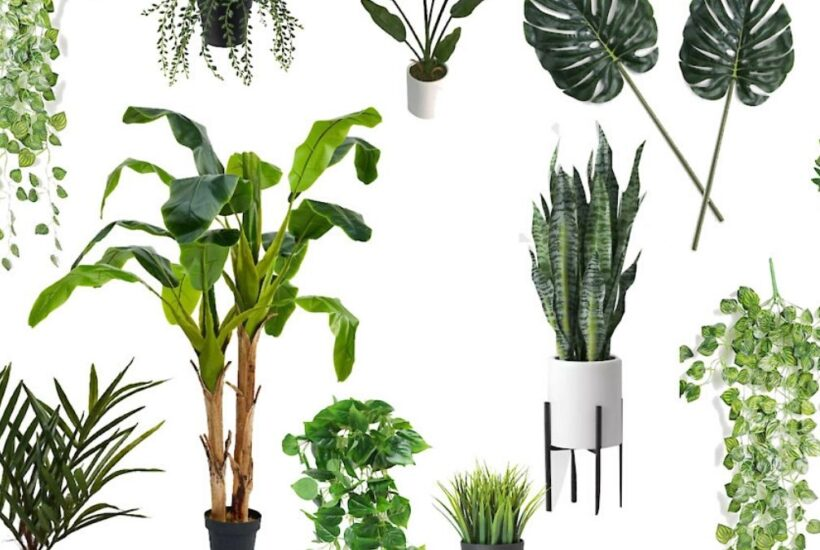 Collage of artificial plants