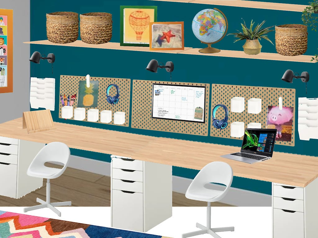 rendering of kids homeschool room with ikea desk hack, multiple workstations, lighting for Zoom meetings, and more!
