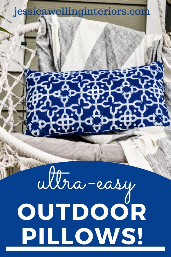 Make your own unique outdoor throw pillows on a budget with this easy step-by-step tutorial! They're perfect for patios, porches, and outdoor living rooms!