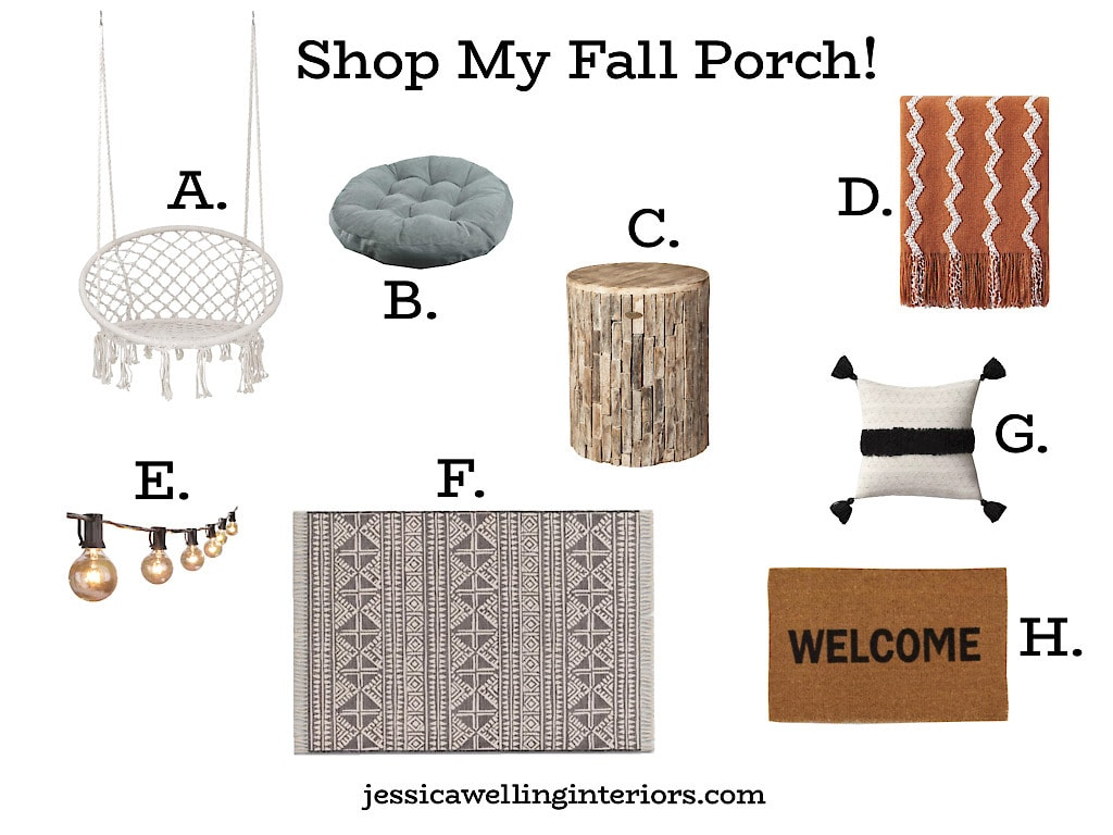 Shop My Fall Porch! Collage of lettered photos of products used on the Fall front porch
