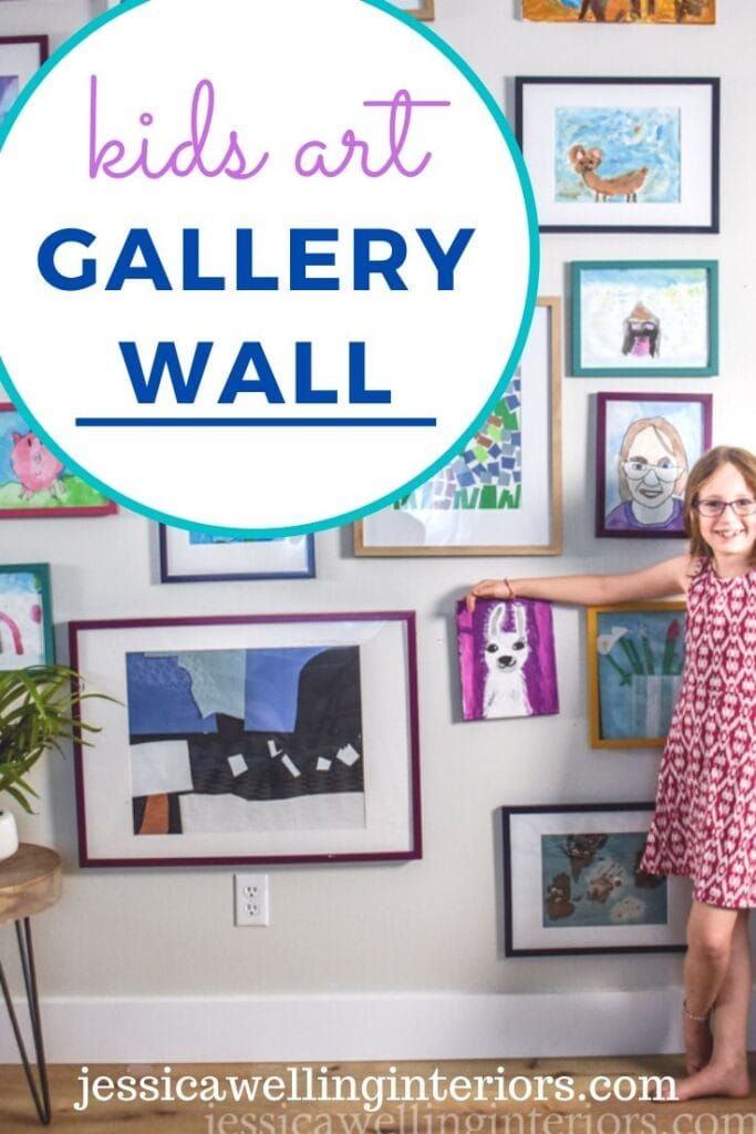 Kids' Art Gallery Wall: little girl standing next to modern gallery wall of colorful kids art