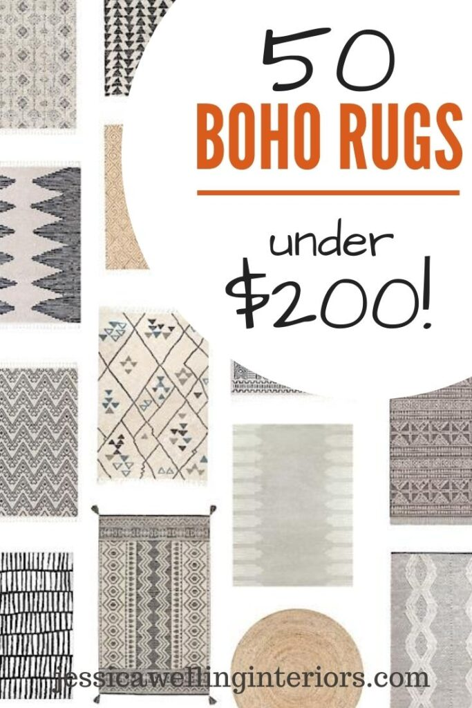 With this collection of 50 stylish, inexpensive modern Boho area rugs in beige, natural, cream, ivory, grey, black, and white, you're sure to find the perfect rug for your living room, dining room, bedroom, or office!