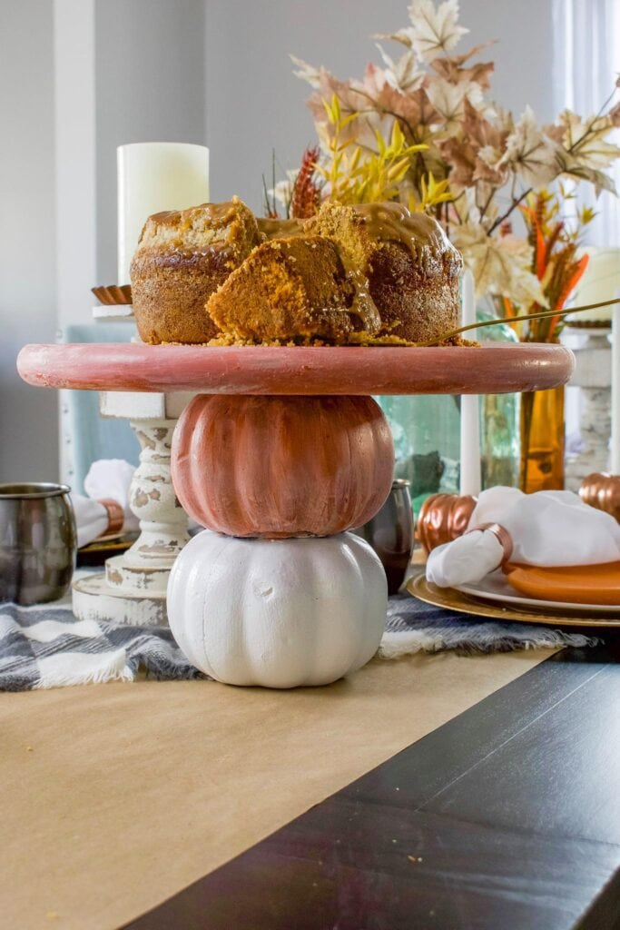 Close-up of pumpkin serving tray on a table decorated for Fall