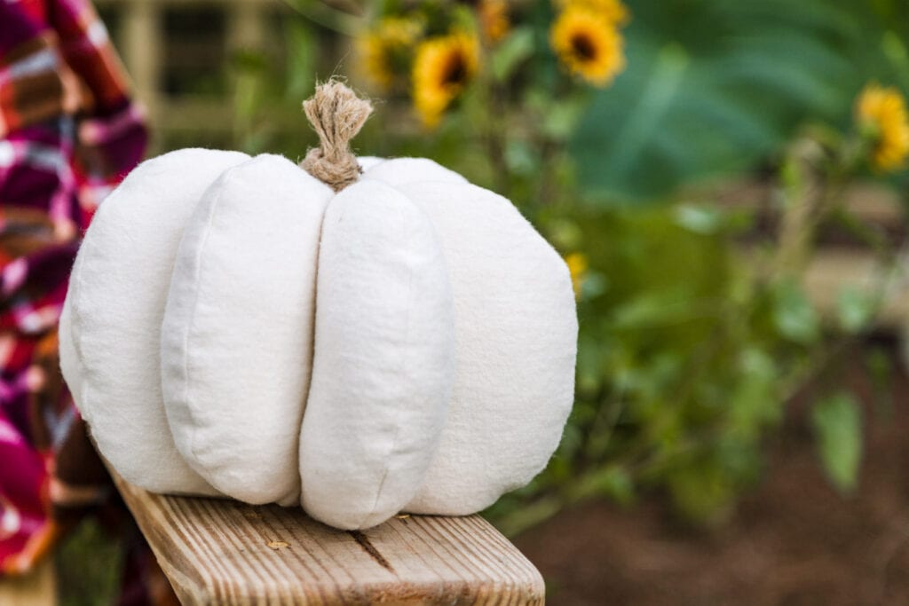 close-up of a white fabric pumpkin