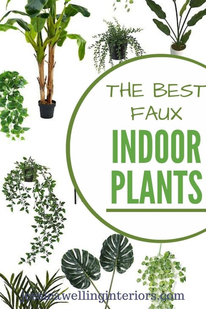 The Best Faux Indoor Plants: collage of artificial plants on a white background