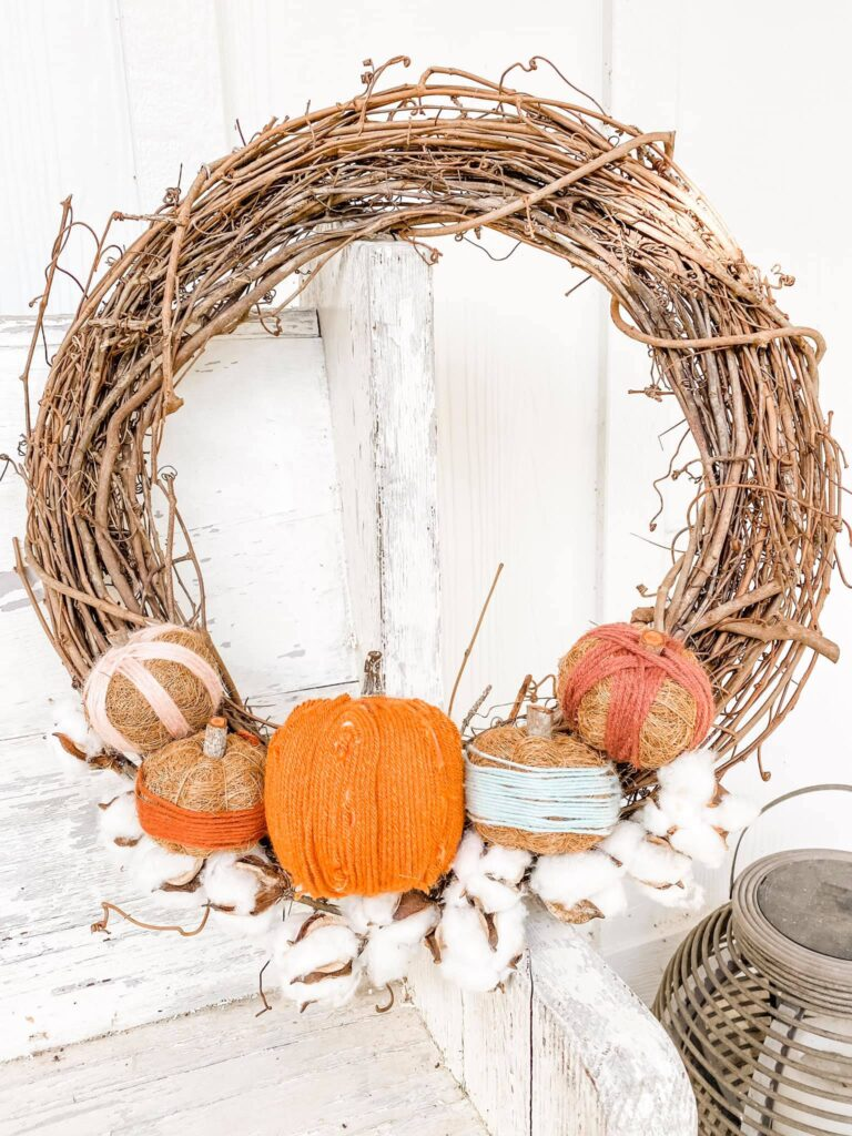 DIY Fall wreath, with yarn-wrapped pumpkins