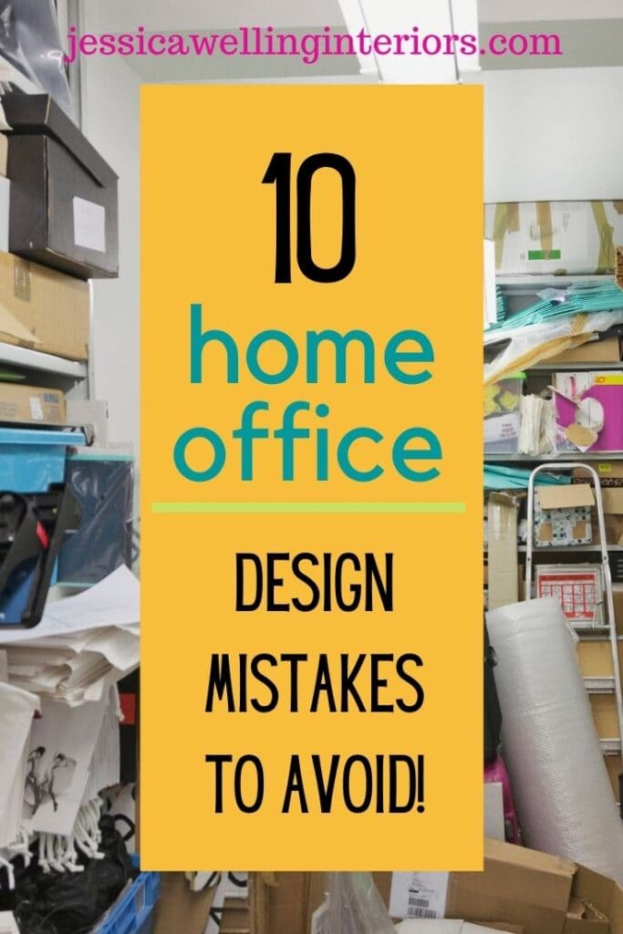 10 Home Office Design Mistakes To Avoid: very messy and cluttered home office with boxes and files spilling off of shelves