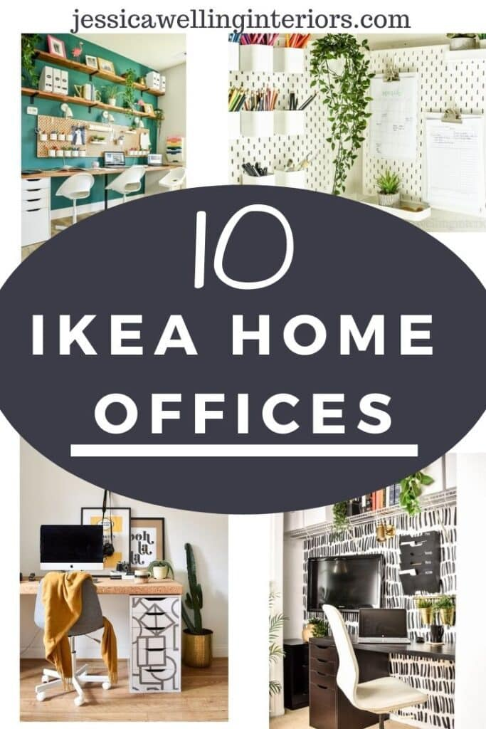 10 Ikea Home Offices: collage of 4 different home offices featuring Ikea desk hacks, Skadis pegboard, Alex drawer Units, Kvissle file sorters, and more.