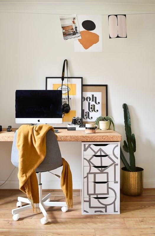 Ikea Alex desk hack with modern pattern