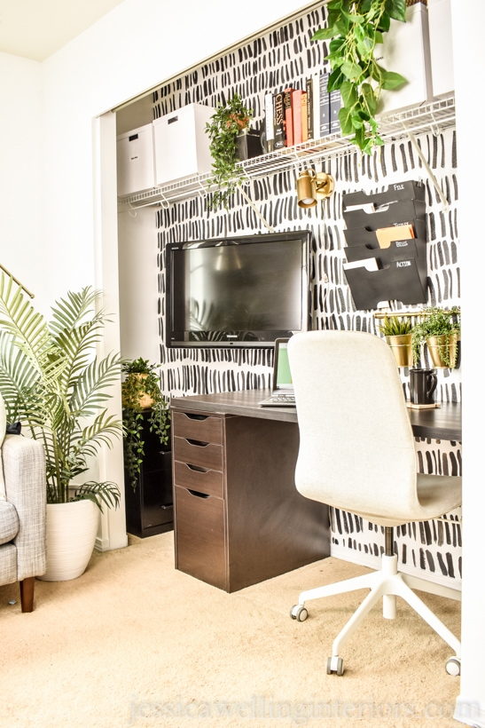 Modern masculine office in a closet with Ikea Alex and Linmon, Kvissle wall file storage, and an Ikea desk chair