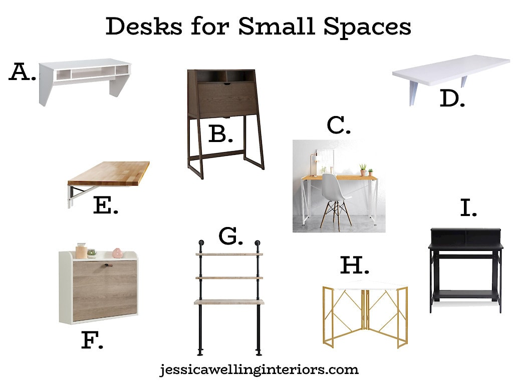 Desks For Small Spaces: collage of cheap small desk that fold down or have a very small footprint