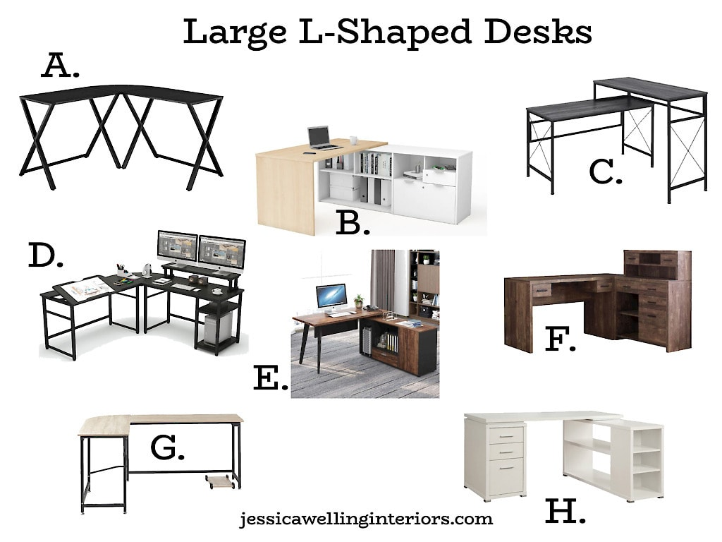 Large L-Shaped Desks: collage of home office desks for corners and L-shaped home office desks