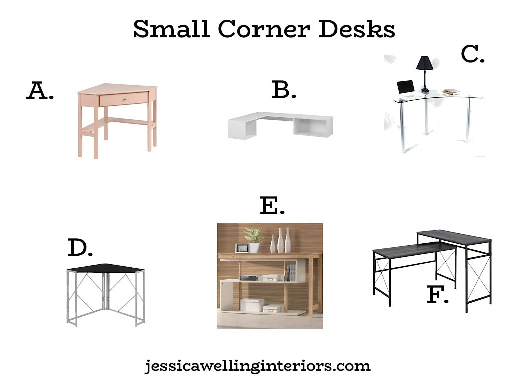 Small Corner Desks: collage of small home office desks that are designed to fit in a corner.