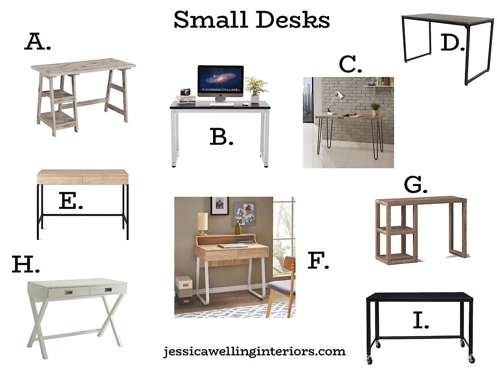 Small Desks: collage of rectangular small computer desks for home offices