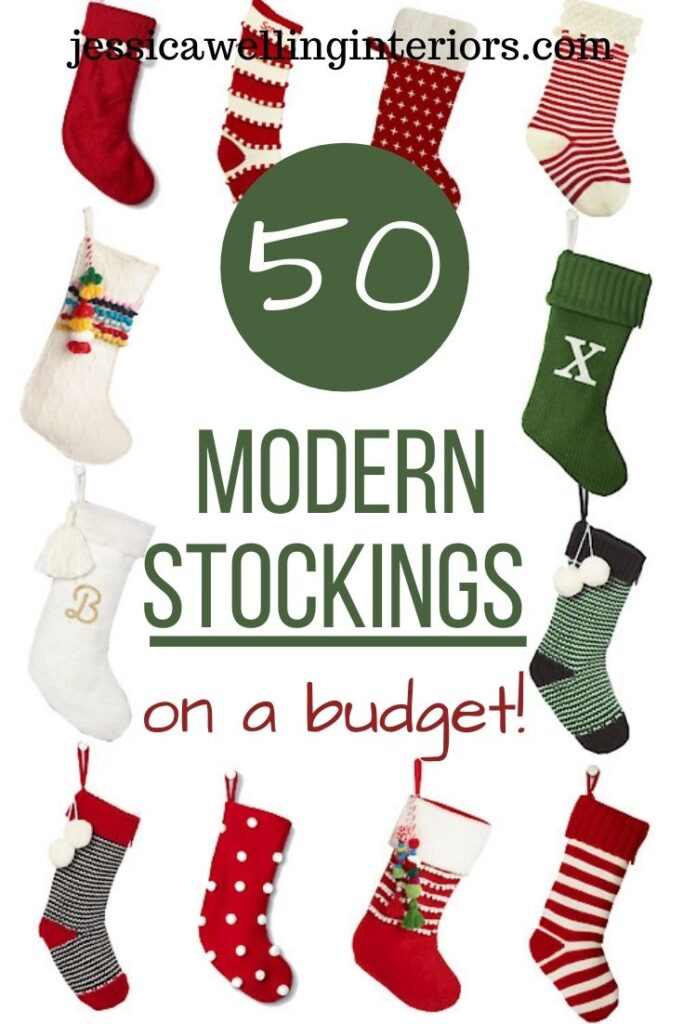 50 Modern Stockings On A Budget! Collage of modern Christmas stockings with tassels, pom poms, stripes, and more!