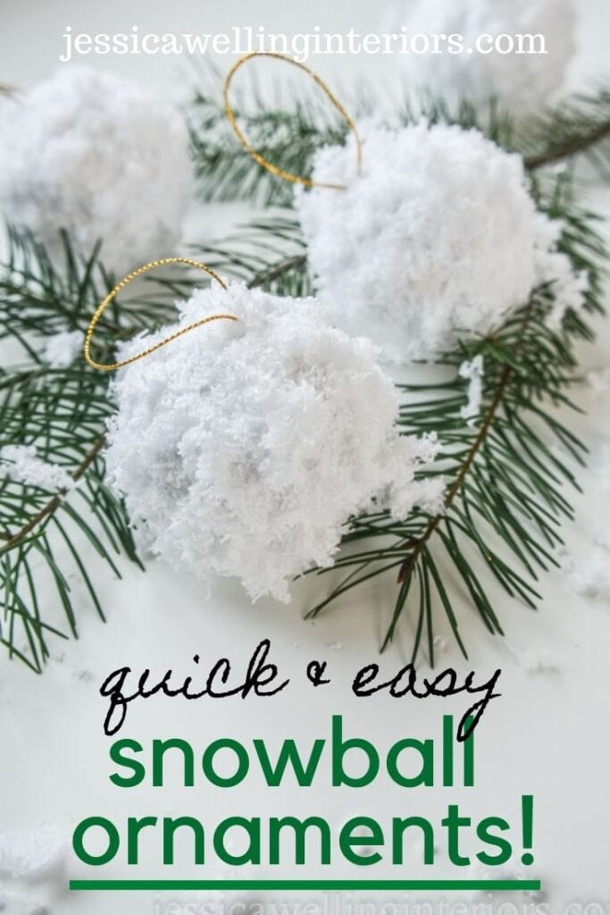 Quick & Easy Snowball Ornaments!  Close up of fluffy white snowball Christmas ornaments with pine branches for Christmas