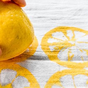DIY lemon-stamped tea towels