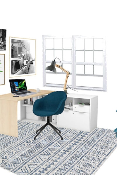 shoppable home office design board with inexpensive desk, desk lamp, rug, bookshelf, task chair, and plants