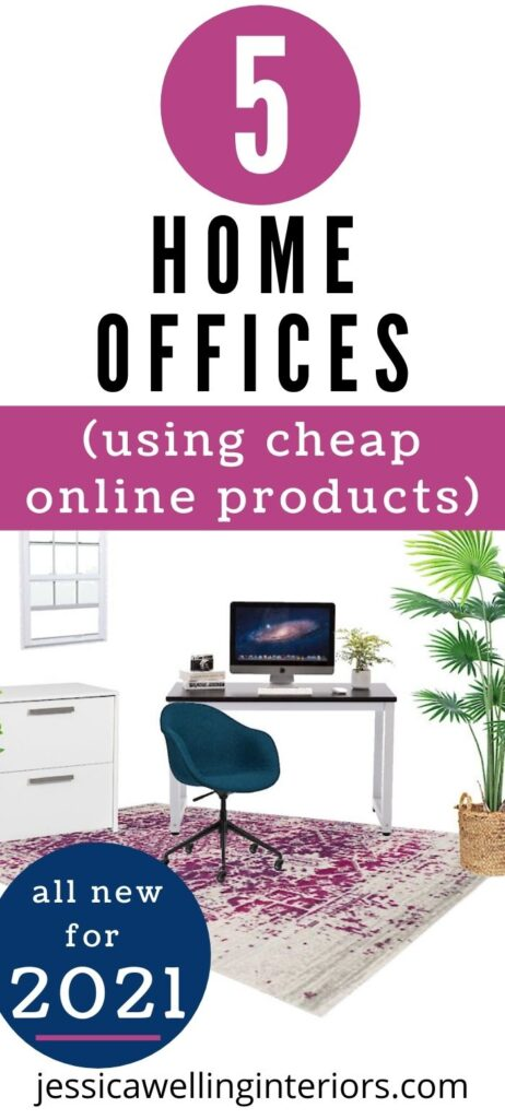 5 Home Offices Using Cheap Online Products: small home office design board with computer desk, large indoor plant,