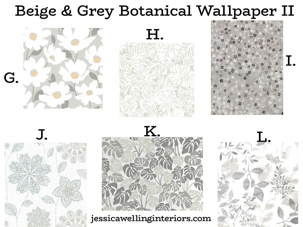 Beige and Grey Botanical Wallpaper II: collection of beautiful grey floral wallpaper patterns