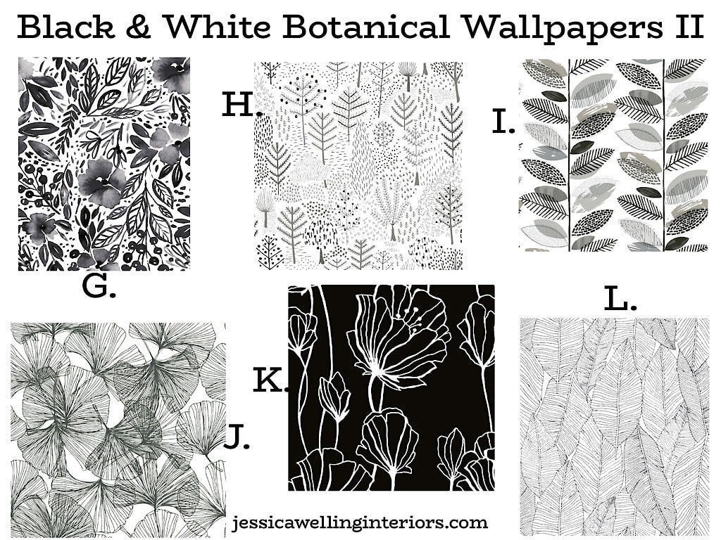 Black & White Botanical Wallpapers II: collage image of six stylish modern black floral wallpaper patterns