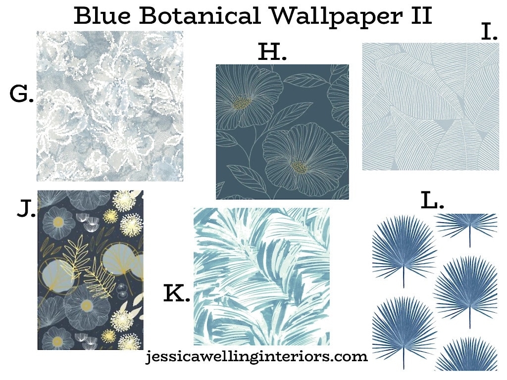 Blue Botanical Wallpaper II: collage of 6 mid century modern floral and leaf print wallpapers