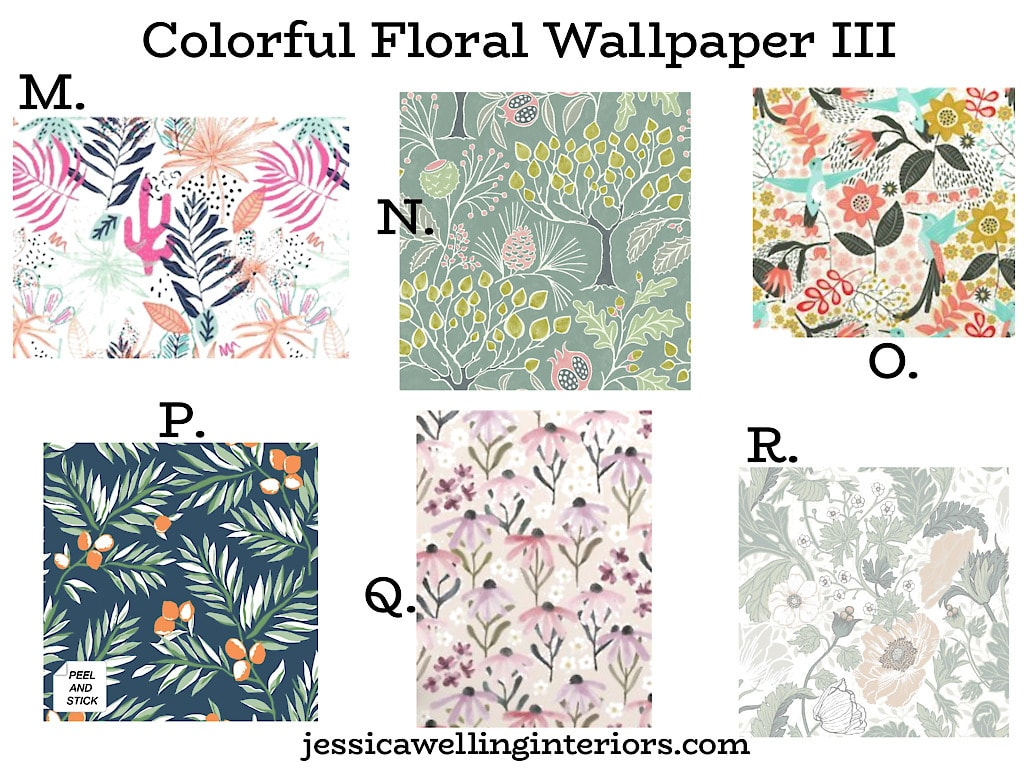 Colorful Floral Wallpaper III: collage of 6 bold and colorful mid century modern wallpaper ideas