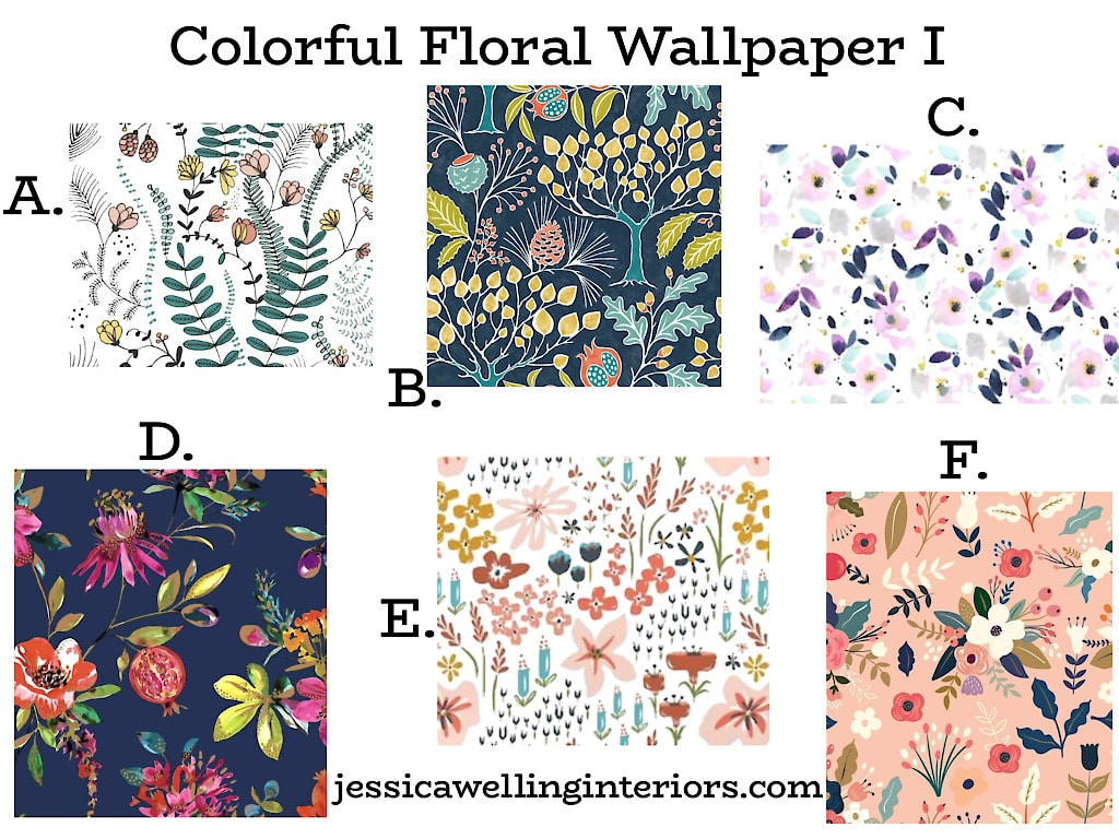 Colorful Floral Wallpaper I: collection of 6 bright and colorful floral wallpaper prints