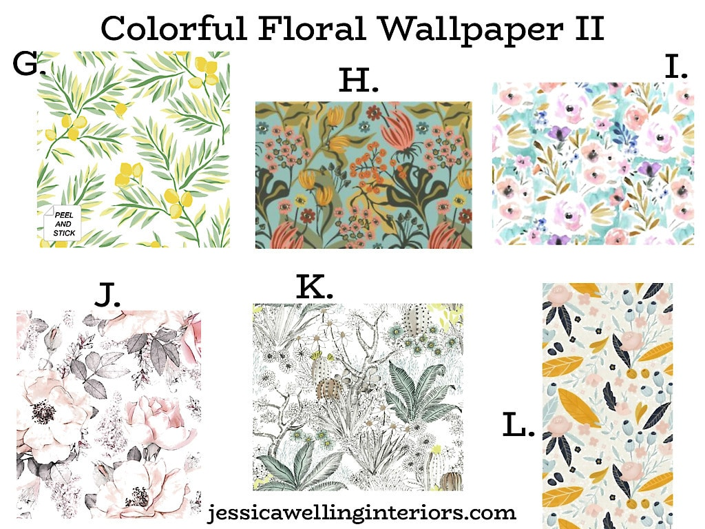 Colorful Floral Wallpaper II: 6 peel and stick wallpaper patterns with floral motifs