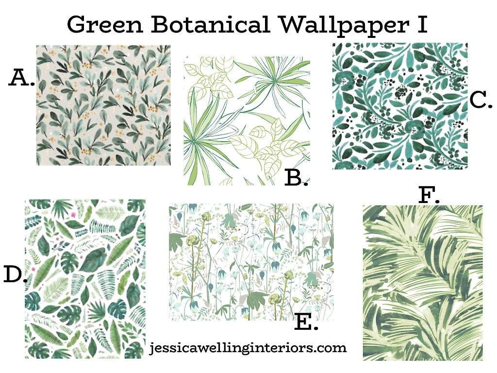 Green Botanical Wallpaper I: Collage of green leaf wallpaper patterns with tropical leaves