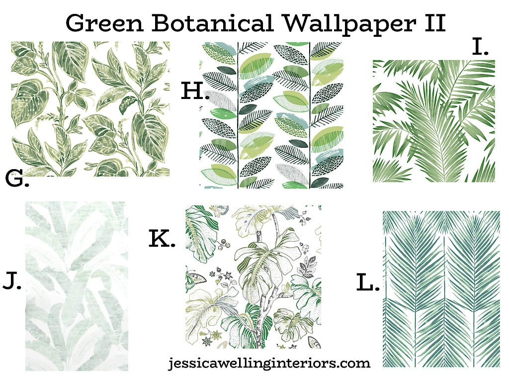 Green Botanical Wallpaper II: collection of wallpaper prints featuring modern green leaf patterns
