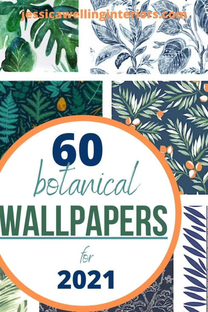 60 Botanical Wallpapers for 2021: collage of floral wallpaper prints with leaves in greens and blues