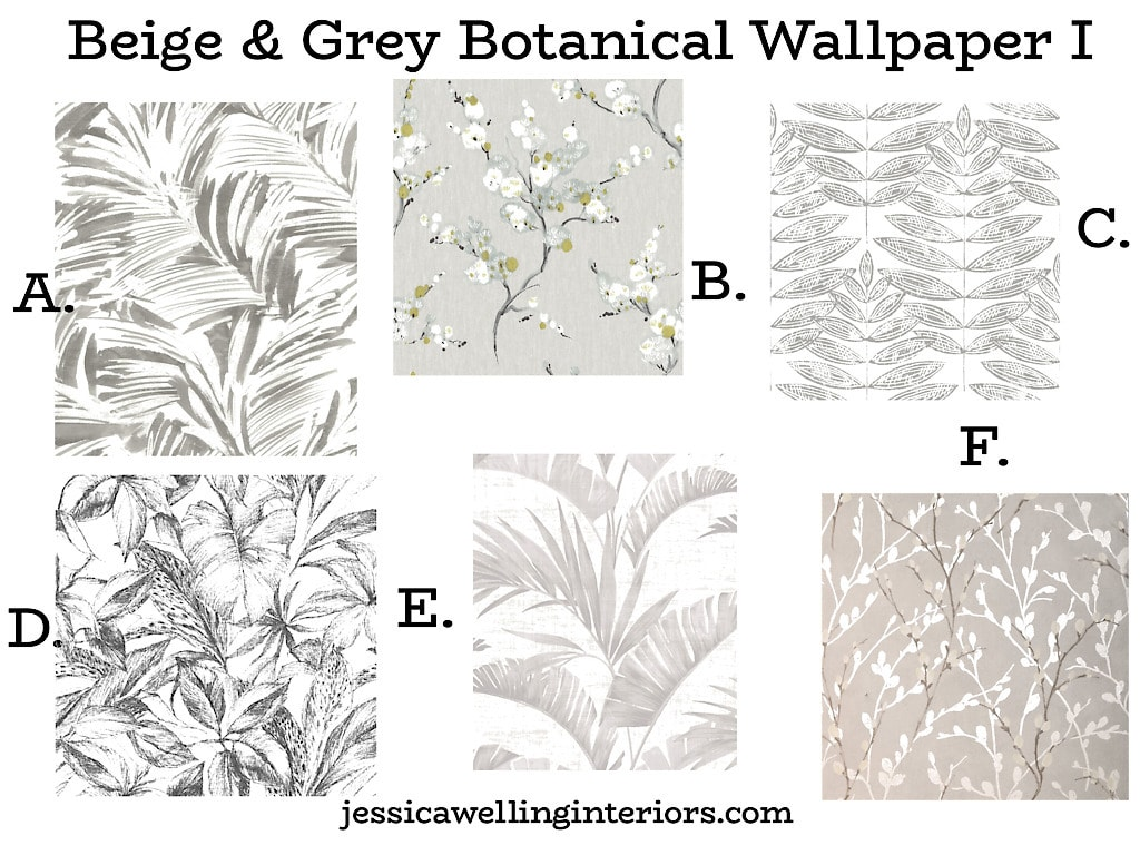 Beige & Grey Botanical Wallpaper I: collage of tropical and botanical leaf wallpaper prints in beige and grey and white